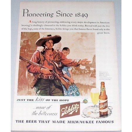 1943 Schlitz Beer Color Art Print Ad - Pioneering Since 1849