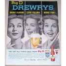 1961 Drewry's Beer Color Print Ad - Get All Three From Big D