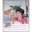 1959 Schlitz Beer Sailing Art Color Print Ad Celebrity Erin O'Brien