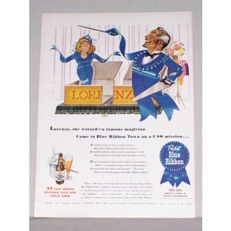 1944 Pabst Blue Ribbon Beer Magician Art Color Print Ad - Lorenzo The Wizard