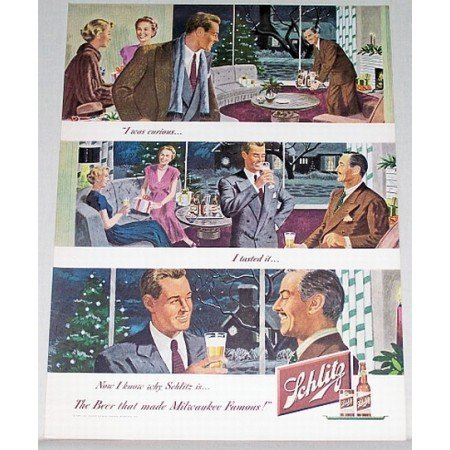 1948 Schlitz Beer Color Art Print Ad