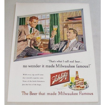 1947 Schlitz Beer Color Art Print Ad - That's What I Call Beer