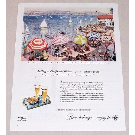 1945 Beer Belongs Color Art Print Ad - Sailing In California Waters