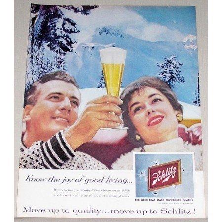 1959 Schlitz Beer Winter Scene Color Print Ad - Joy of Good Living