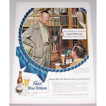 1948 Pabst Blue Ribbon Beer Color Print Ad Jonathan Wainwright
