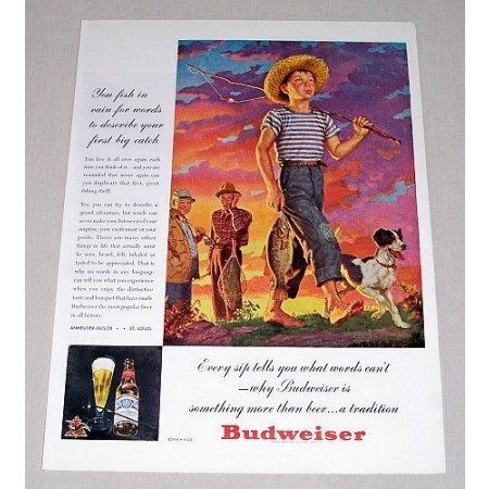 1946 Budweiser Beer Cane Pole Fishing Art Color Print Ad