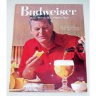 1961 Budweiser Beer Color Print Ad - Who Enjoys Food