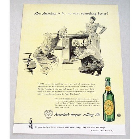 1943 Ballantine's Ale Color Print Ad - How American It Is