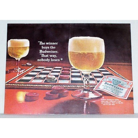 1967 Budweiser Beer Bud Checkerboard Checkers Color Print Ad