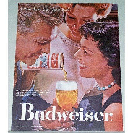1957 Budweiser Beer Color Print Ad - Next Time