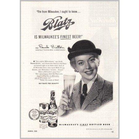 1951 Blatz Beer Print Ad Celebrity Pamela Britton