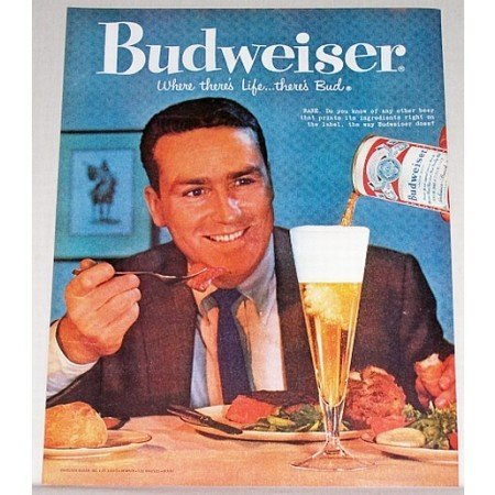 1959 Budweiser Bud Beer Color Print Ad - Rare Steak
