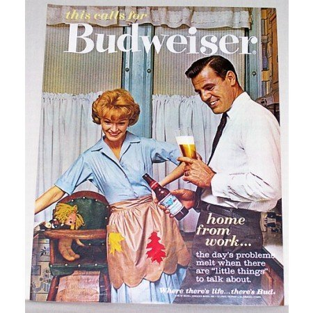1962 Budweiser Bud Beer Color Print Ad - Home From Work