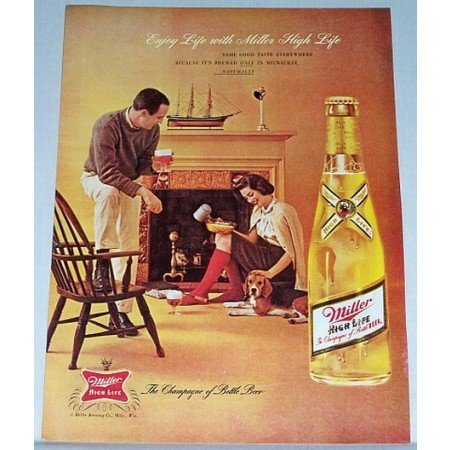 1962 Miller High Life Beer Color Print Ad