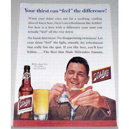 1955 Schlitz Beer Hot Dog Color Brewery Print Ad