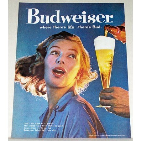1960 Budweiser Beer Bud Color Brewery Print Ad - You Know at a Glance