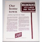 1961 Schlitz Beer Color Brewery Print Ad - Our Hometown City Limits