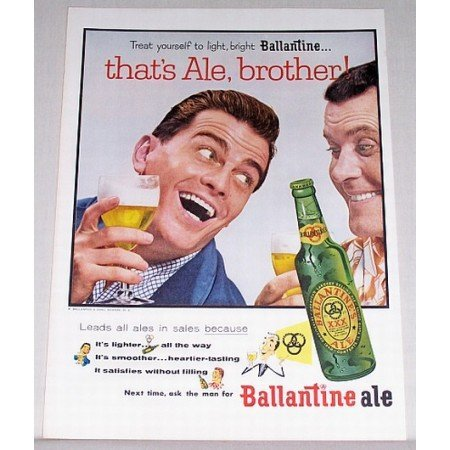 1955 Ballantine's Ale Color Print Ad - Thats Ale, Brother