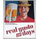 1965 Schlitz Beer Color Print Ad - Real Gusto Days