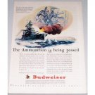 1943 Budweiser Beer Wartime Warship Art Color Print Ad - Ammunition Is Passed