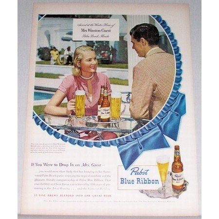 1948 Pabst Blue Ribbon Beer Color Print Ad Mrs Winston Guest