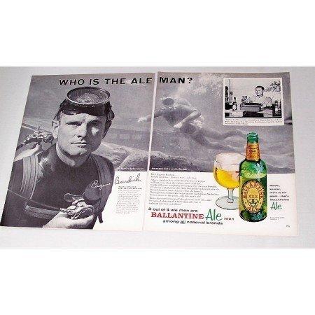 1962 Ballantine Ale Scuba Diving Print Ad Eugene Burdick Ocean Explorer