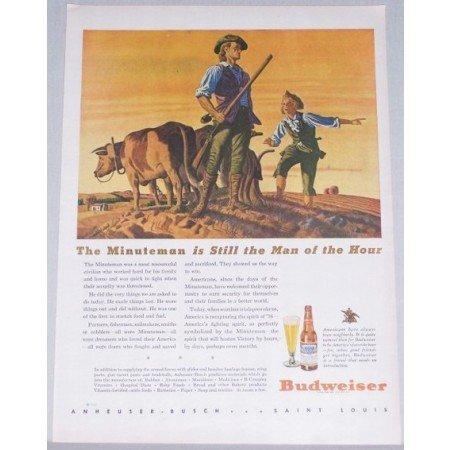 1944 Budweiser Beer Color Art Print Ad - The Minuteman