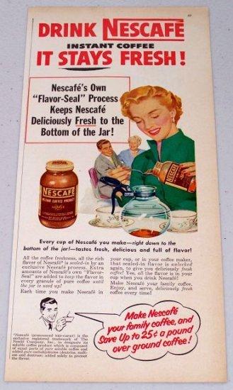 1952 Nescafe Instant Coffee Vintage Color Art Print Ad