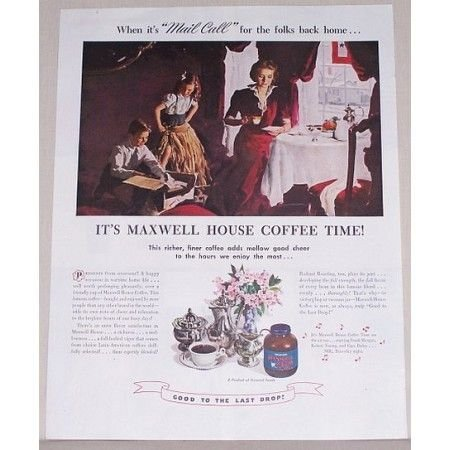 1945 Maxwell House Coffee Color Print Ad - Mail Call