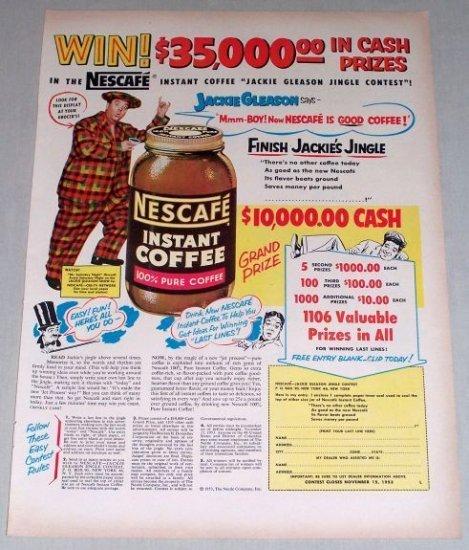 1953 Nescafe Coffee Color Print Ad Celebrity Jackie Gleason
