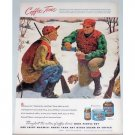 1948 Maxwell House Coffee Outdoor Hunting Winter Art Color Print Ad