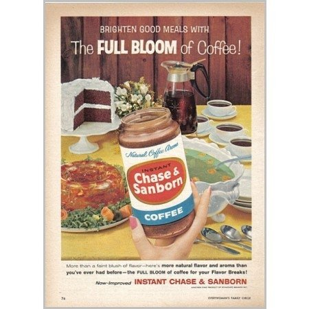 1959 Chase and Sanborn Instant Coffee Color Print Ad - Full Bloom