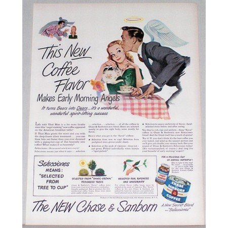 1948 Chase & Sanborn Coffee Color Art Print Ad - Morning Angels