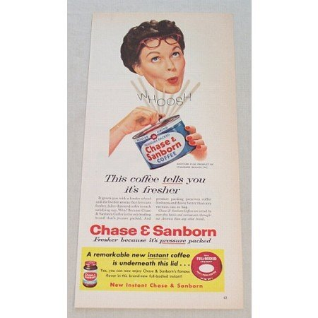 1956 Chase & Sanborn Coffee Can Art Color Print Ad