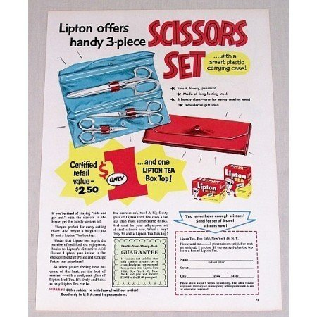 1955 Lipton Tea Bags 3 Pc Scissors Set Offer Color Print Ad