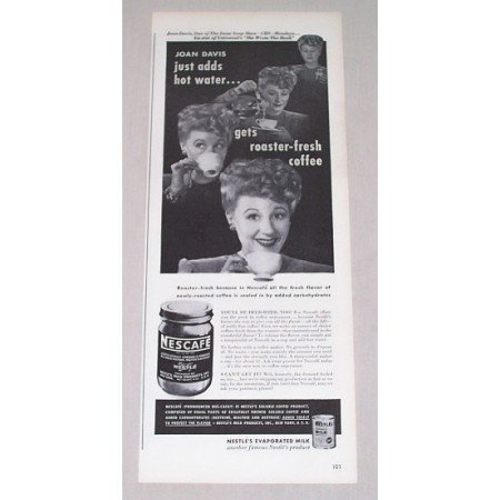 1946 Nescafe Coffee Print Ad Celebrity Joan Davis