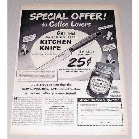 1946 Washington Instant Coffee Kitchen Knife Offer Print Ad