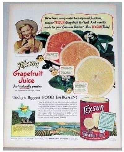 1948 Texsun Grapefruit Juice Color Print Ad - Summer Drinkin