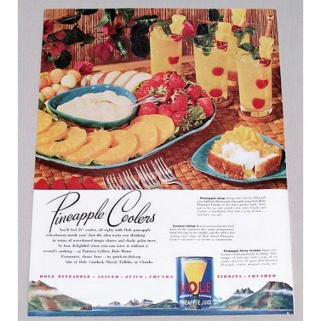 1947 Dole Pineapple Juice Color Print Ad - Pineapple Coolers