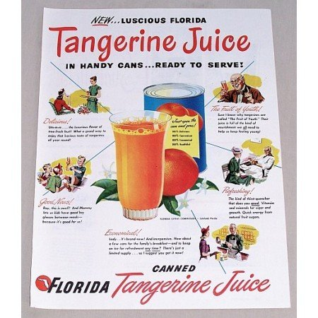 1947 Florida Tangerine Juice Color Print Ad