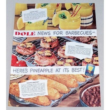 1949 Dole Pineapple Juice Color Print Ad - News For BBQS