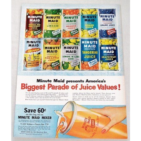 1956 Minute Maid Juices Color Print Ad - Parade of Juice Values