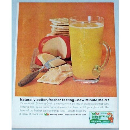 1962 Minute Maid Concentrated Orange Juice Color Print Ad