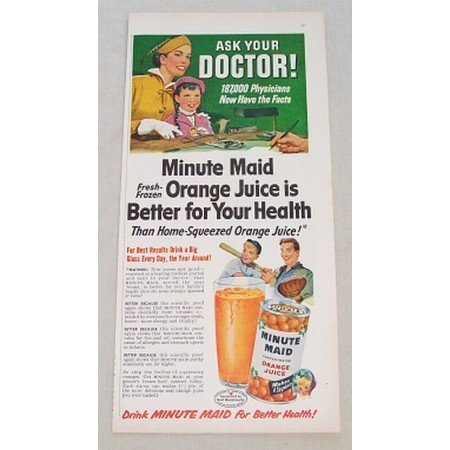 1952 Minute Maid Orange Juice Color Art Print Ad - Ask Your Doctor