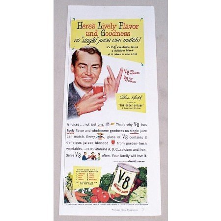 1949 V-8 Vegetable Juice Color Print Ad Celebrity Alan Ladd