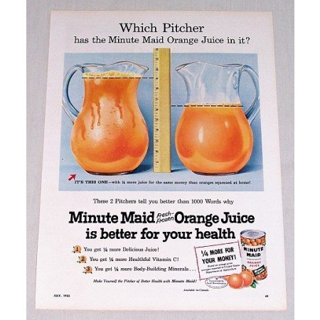 1955 Minute Maid Orange Juice Color Print Ad - Which Pitcher