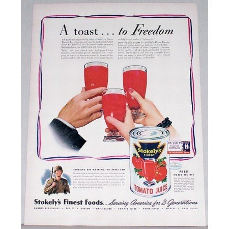 1942 Stokelys Tomato Juice Wartime Color Art Print Ad - Toast To Freedom