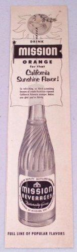 1952 Mission Beverages Orange Drink Bottle Vintage Print Ad