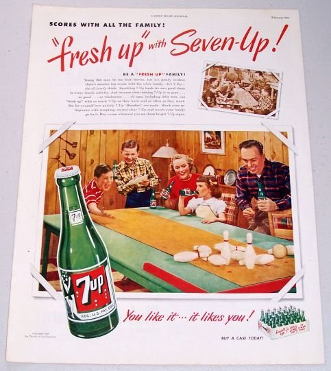1950 7up Soda Beverage Table Bowling Color 7 UP Print Ad