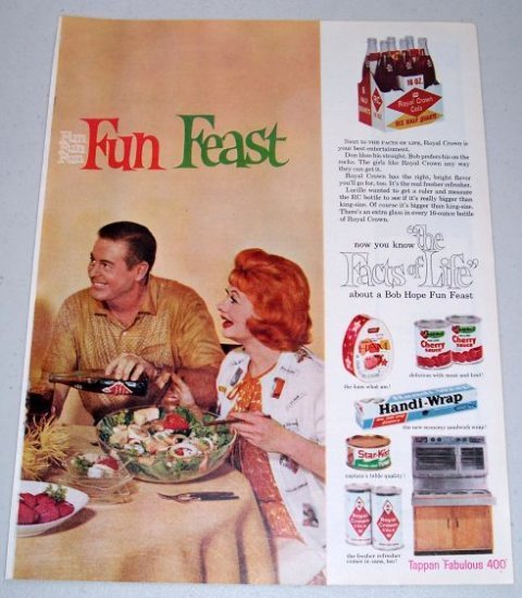 1960 Celebrity Bob Hope Fun Feast Royal Crown Cola 2 Page Color Print Ad